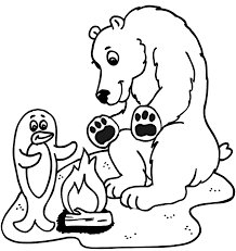 Small Picture Penguin and Polar Bear Coloring Page by campire