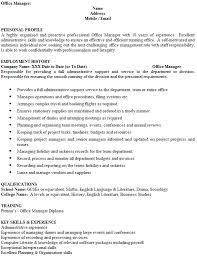 Office Manager Cv Example Office Manager Cv Example Icover Org Uk