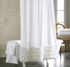 Fresh Lace White Fabric Shower Curtain For High End Style Buy High