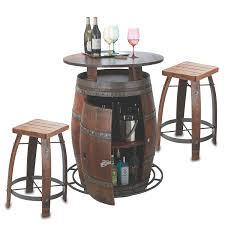 outdoor vintage oak wine barrel bistro table bar stools