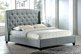 King Size Tufted Bed Frame King Size Tufted Grey Fabric Upholstered ...