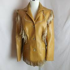 details about vintage pioneer wear rustic fringed western ranch vegan leather jacket size 10