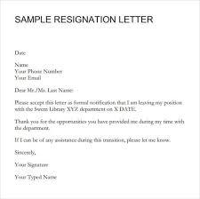 Formal Resignation Letter Example 9 Resignation Letter Sample Writing Letters Formats