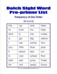 Pre Primer Dolch Pre Primer Dolch Word List Frequency Order Dolch Word Lists