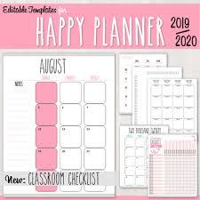 Planner 2020 Template Teacher Planner Templates For Happy Planner 2019 2020