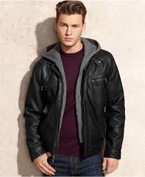 calvin klein jacket hooded faux leather jacket