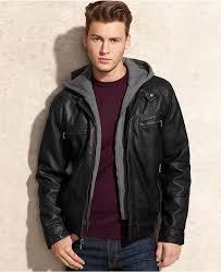 jacket hooded faux leather jacket