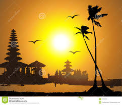 tropical sunset palm tree silhouette stock vector ilration of gull holiday 7915553