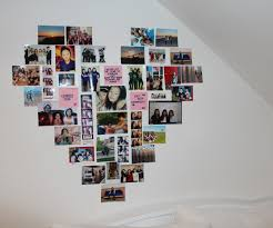 Large-size of Encouraging Love Shaped Family Photo Collage Idea Over Wall