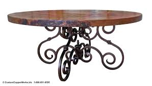 copper top round dining room table mounted on hand forged iron french iron dining table base