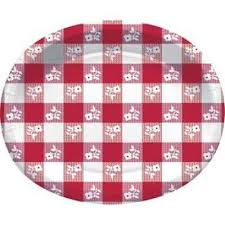 red gingham 12 inch oval plates 8 pack summer bbq picnic birthday party decor