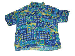 90s Pattern Shirts Delectable Retro 48s Wild Blue Button Up Short Sleeve Shirt 48s Vintage