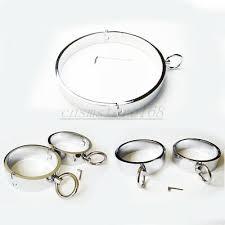 Male Steel Neck Collar <b>Handcuffs</b> Ankle <b>Wrist Cuffs set</b> Restraint ...