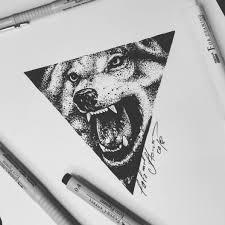 тату эскиз волка в стиле геометрия