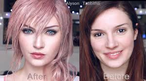 lightning final fantasy makeup transformation cosplay tutorial