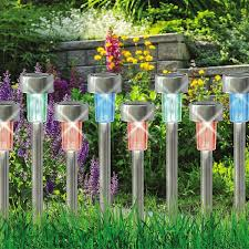 Colour Changing Solar Garden Lights 10 X Colour Changing Stainless Steel Solar Powered Garden Lights Lanterns