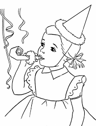 Small Picture Happy Birthday Girl Blowing a Horn Coloring Page Color Luna