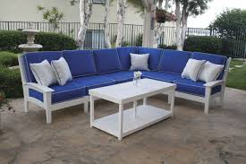 outdoor upholstered furniture. White Wooden L Shaped Outdoor Sofa Using Blue Fabric Upholstery And Cushions Also Patio Table Cool Idea Upholstered Furniture