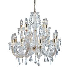 searchlight 699 12 marie therese 12 light traditional crystal chandelier polished brass