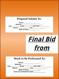 Download Bid Proposal Template For Free - Formtemplate