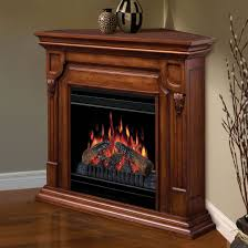 corner electric fireplace which are made of brown varnished oak wood