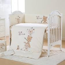 cute animals playing baseball pattern 7 piece organic cotton crib bedding sets