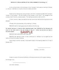Corporate Minutes Template Sample Meeting Basic Forms Free Llc