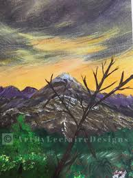 purple mountain sunset print 8 5 x 11 from original leclaire acrylic painting