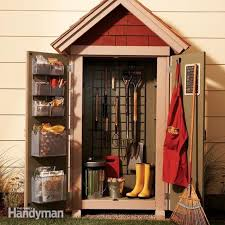 picture of a small shed with gardening tools inside