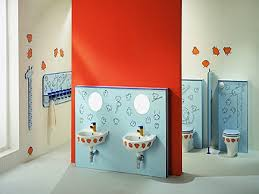 Stylish Red and White Color Scheme Kids Bathroom Design Inspirations