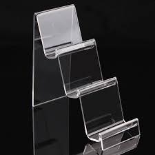 Plexiglass Display Stands Clear Acrylic 100 Layers Ladder Cellphone Display Stand Holder Rack 24