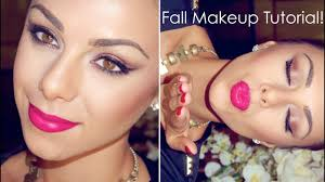 fall makeup tutorial bronzed eyes jeweled tone lips