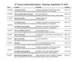 Annual Agenda 24th Annual Indiana Bat Festival Agenda Saturday September 24 3