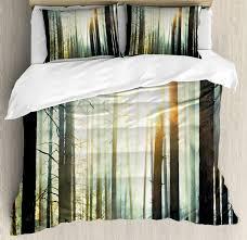 duvet cover set with pillow shams fairy foggy forest woods print nature nptsut415 duvet covers sets