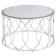 elana silver stainless steel round coffee table pier 1 imports