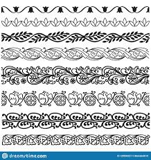Border Lines Ornamental Vinage Set Stock Vector