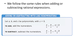 adding subtracting rational expressions like math review of adding rational expressions with like denominators