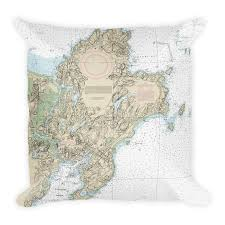 Nautical Chart Pillows Cape Ann Premium Polyester Nautical Chart Throw Pillow