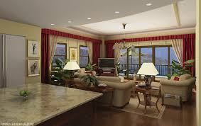 Kitchen And Living Room Designs Living Room Curtain Ideas In Red Theme With Silver Metal Heading