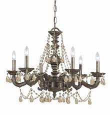 6 lights venetian bronze crystal chandelier