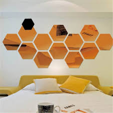 Small Picture Aliexpresscom Buy 12Pcs 3D Hexagon Mirror Wall Stickers Bedroom
