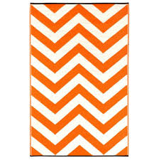 chevron indooroutdoor area rug  tangerine  white