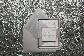 T Silver Glamour Wedding Invitations Glitter Letterpress