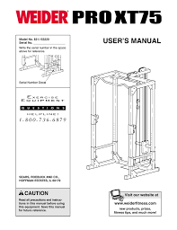 Weider Pro Xt75 User S Manual Manualzz Com