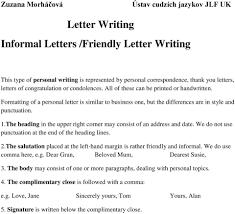 Letter Writing Informal Letters Friendly Letter Writing Pdf