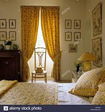 Bedroom Decorated With Provençal Fabrics From Les Olivades Stock - Bedroom decorated