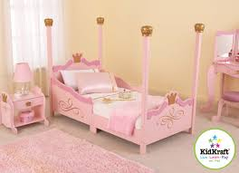sweet pink high poster princess bed with pink rugs as well as white fabric curtain windows in little girls bedroom decors designs