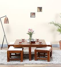 wood coffee table set. Oriel Solid Wood Coffee Table Set With Four Stools In Honey Oak Finish By Woodsworth