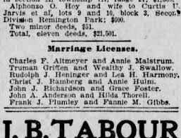 Frank Plumley marriage license Fannie Gibbs 18 Jan 1903 - Newspapers.com