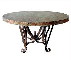 carved wood base hand hammered copper top dining table round copper top dining table